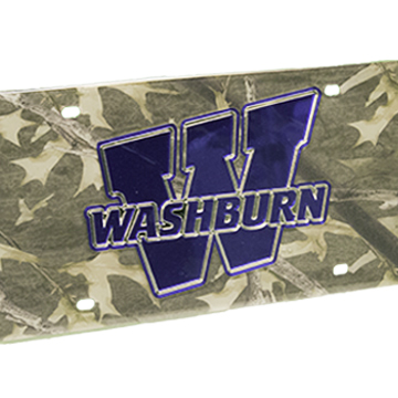 """License Plate - """"W"""" Blue on Camo"""