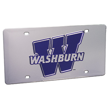 """License Plate - """"W"""" Blue on Silver"""