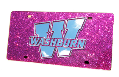 "Image For License Plate - ""W"" Silver on Glitter Pink"