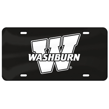 "Image For License Plate - ""W"" White on Black"