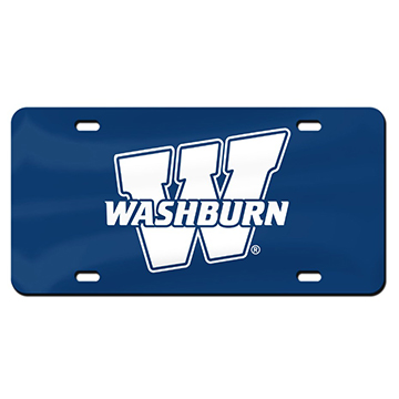 "Image For License Plate - ""W"" White on Blue"