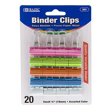 Image For BAZIC BINDER CLIP ASSTCOL