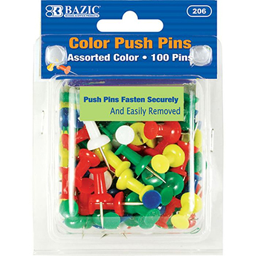 Image For BAZIC ASSTCOLOR PUSH PINS