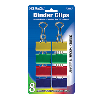Image For Binder Clips- Assorted Color Medium