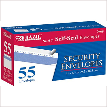 Image For BAZIC SECURITY ENVELOPE