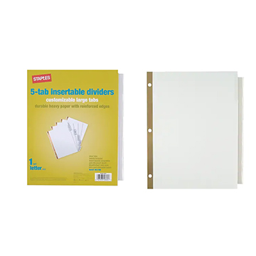 Cover Image For DIVIDERS 5-TAB CLEAR