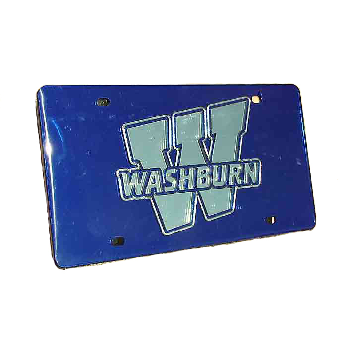"Cover Image For License Plate - ""W"" Silver on Blue"
